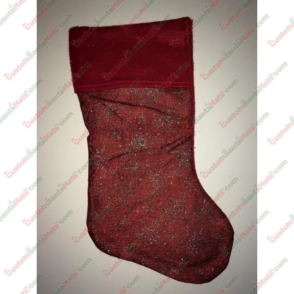 Dark Red Stocking With Snow
