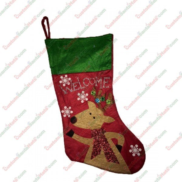 79cc8f17809f8 Felt Welcome Reindeer Stocking - All Stockings - Stockings -  5 Custom  Santa Hats