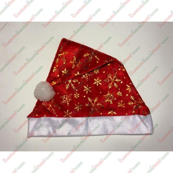 Red Santa Hat With Gold Snow
