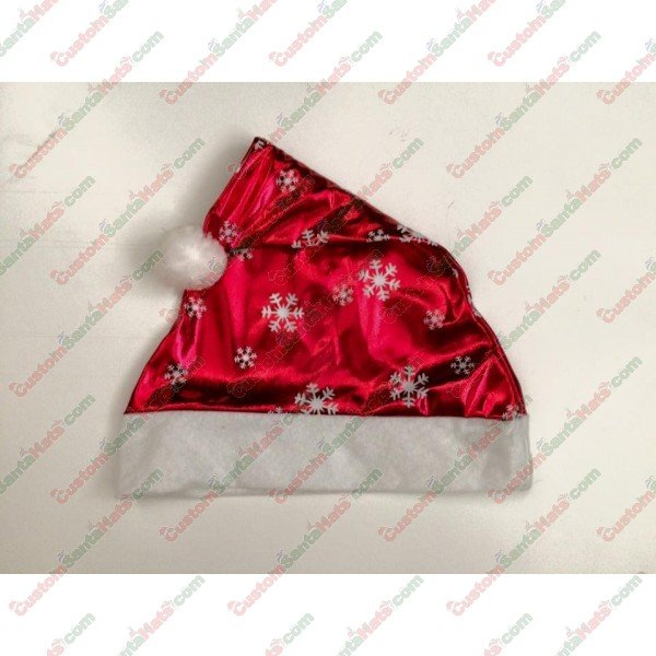 Red Silk Santa Hat With White Snow Flakes