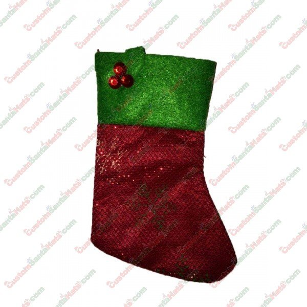 Mini Red Holly Stocking