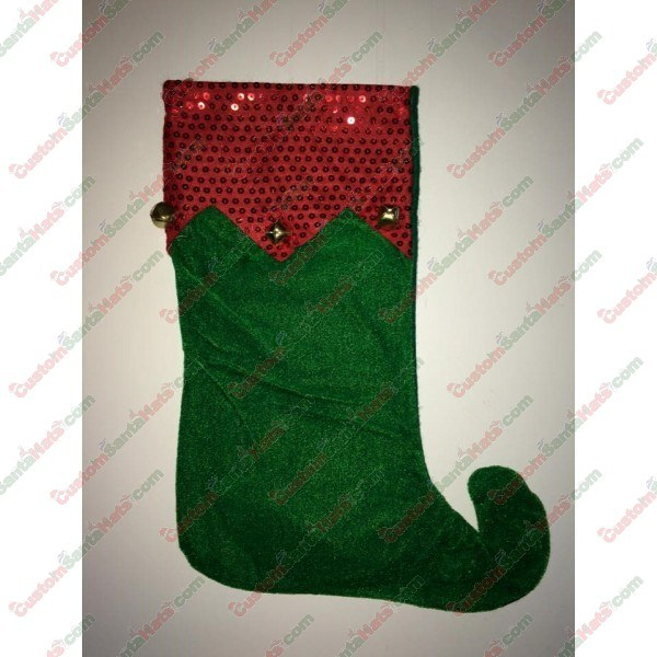 Elf Foot Stocking with Bells Green