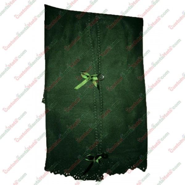 Fleece Button Tree Skirt Green