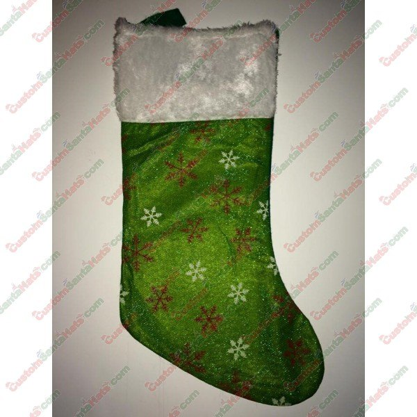 Plush Green Stocking Red and White Snow