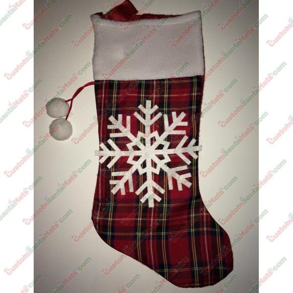 Plaid Stocking with White Snow