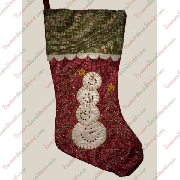 Red 4 Ball Snowman Decorative Stocking