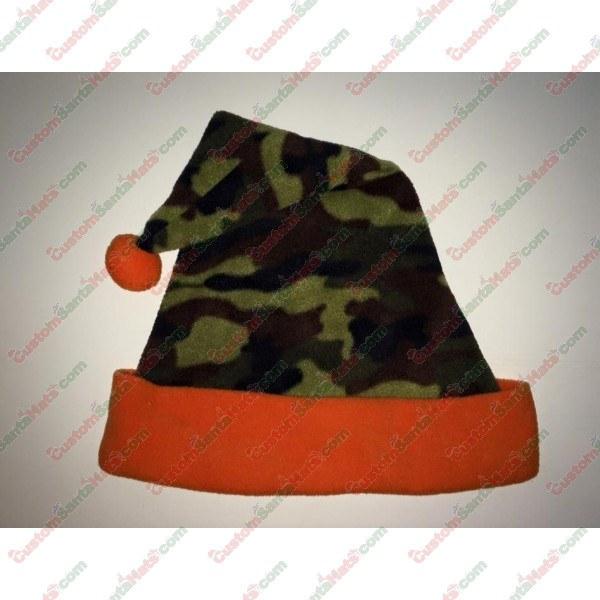 Camo Green and Orange Santa Hat