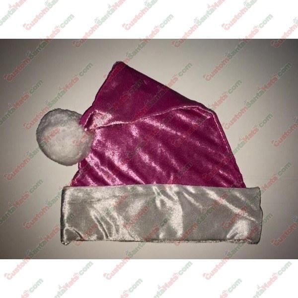 Metallic Pink Fleece Santa Hat