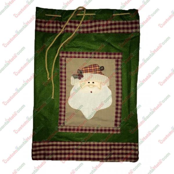 """20"""" Gift Bag Green Santa"""