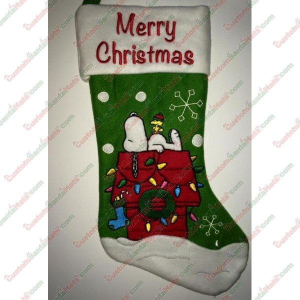 c37d53fc1c376 Snoopy Green Stocking - All Stockings - Stockings -  5 Custom Santa Hats