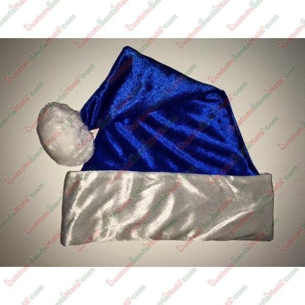 Metallic Blue Fleece Santa Hat