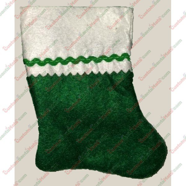Baby Green and White Felt Stocking