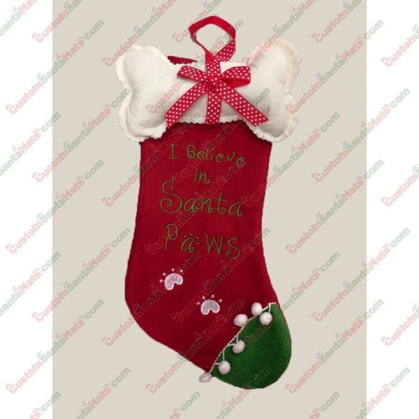 83705db8a75b2 Dog I Believe in Santa Paws Stocking - All Stockings - Stockings -  5 Custom  Santa Hats