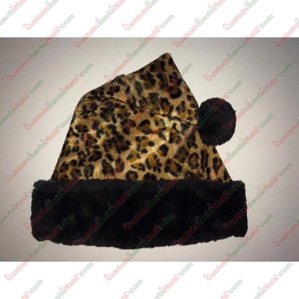 Cheetah Black Fur Santa Hat