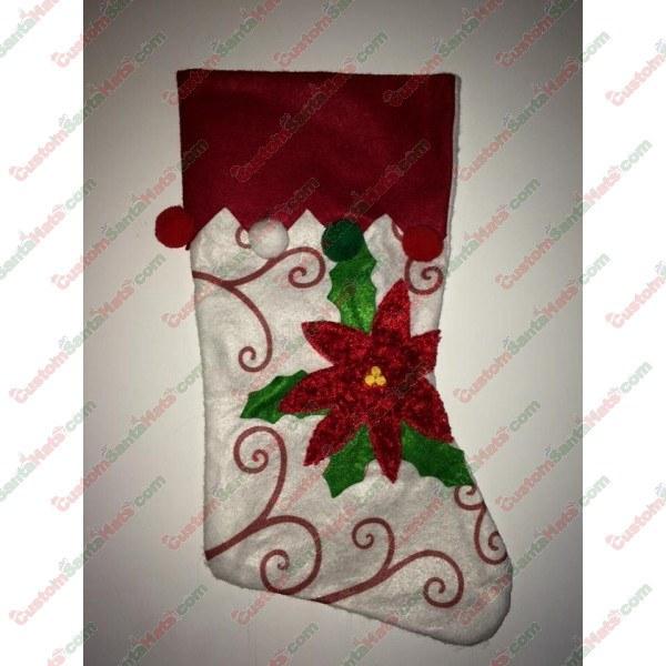 Poinsettia White and Red Stocking