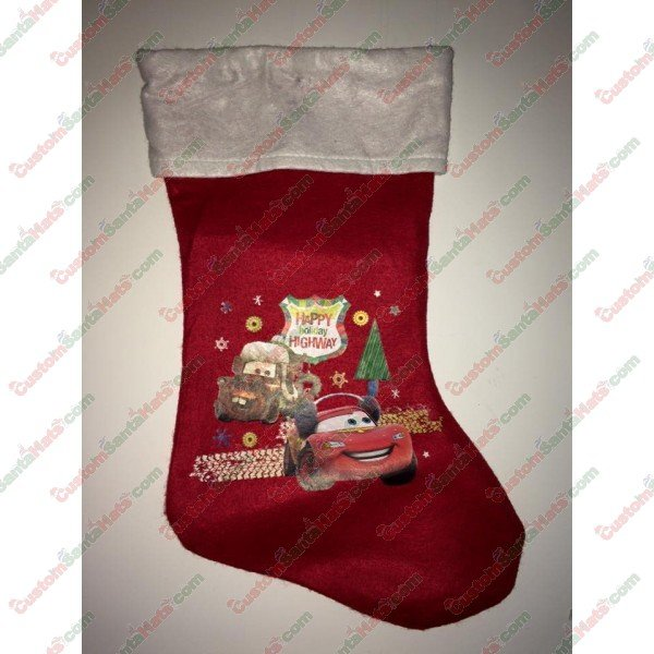 f1d094e2649ee Disney Cars Theme Stocking - All Stockings - Stockings -  5 Custom Santa  Hats