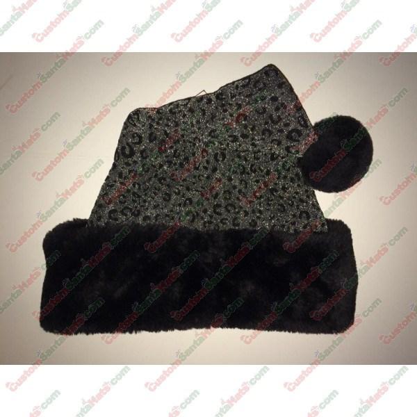Silver & Black Sparkle Cheetah Santa Hat