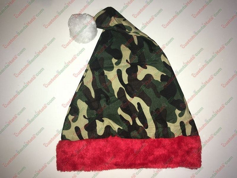 Camo Santa Hat Red Plush Brim