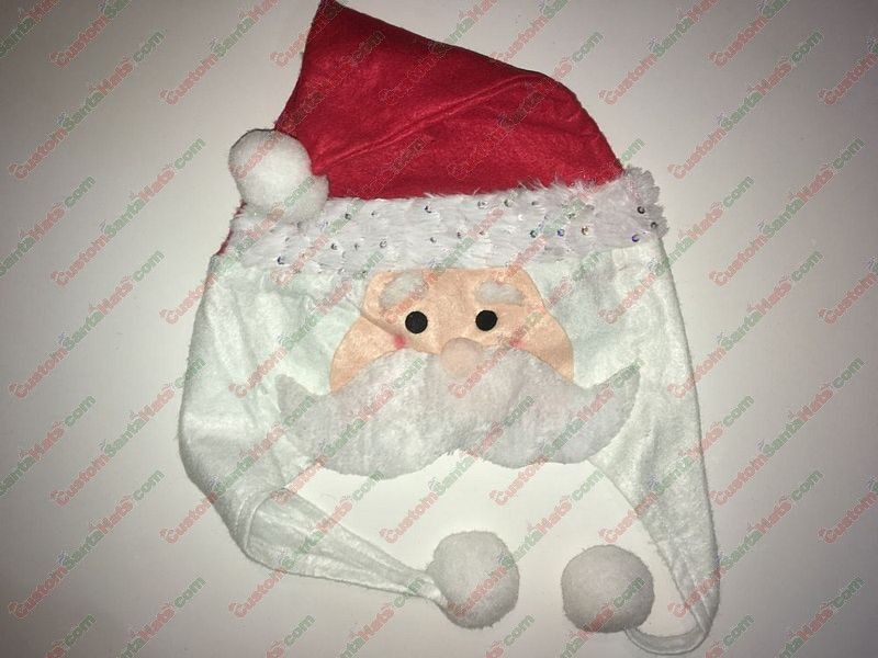 Santa Shaped Santa Hat Silver Sequin