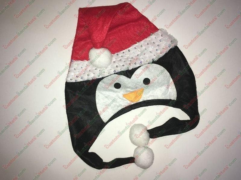 Penguin Shaped Santa Hat Silver Sequin