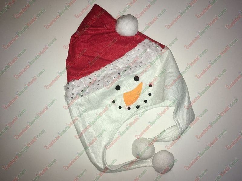 Snowman Shaped Santa Hat Silver Sequin