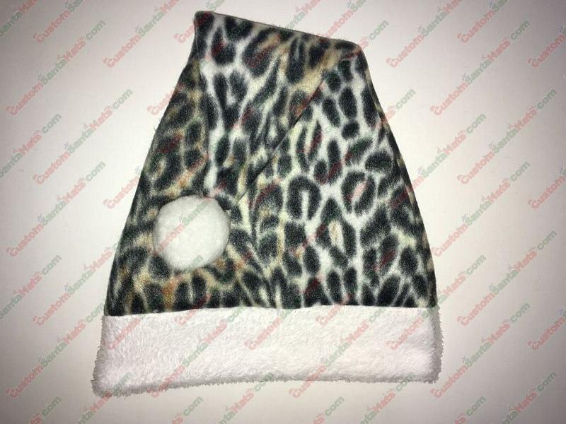 Leopard Print Santa Hat