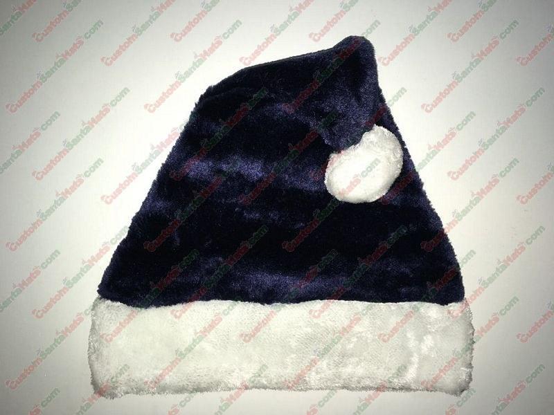 7561866ab3133 Plush Dark Navy Blue Santa Hat -  5 Custom Santa Hats