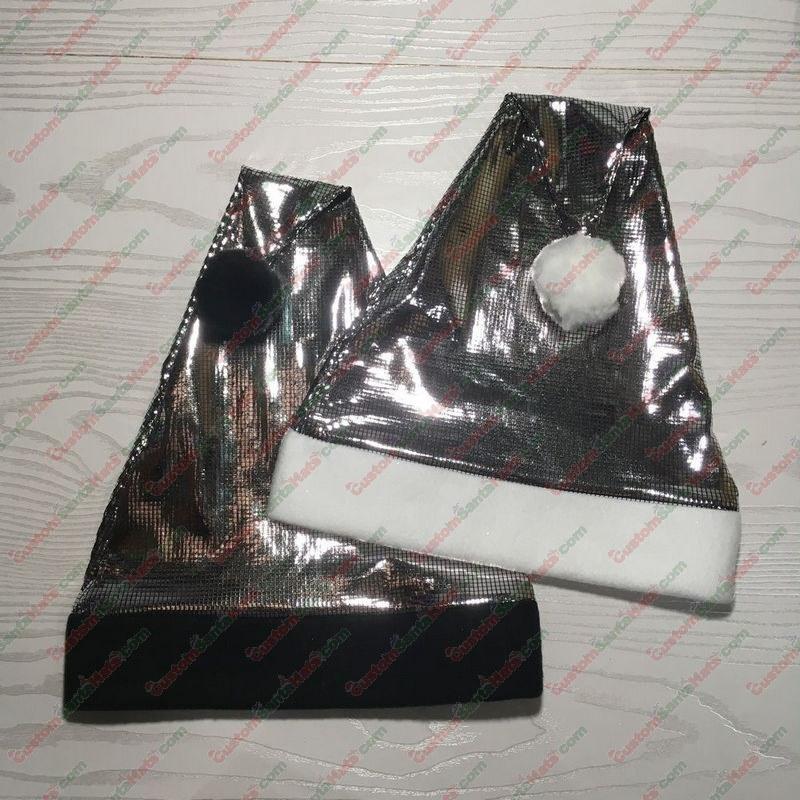 Shiny Grid Silver Santa Hat
