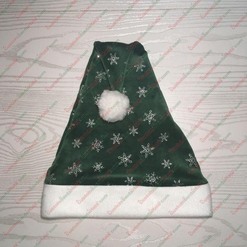 Green Santa Hat Silver Snowflakes