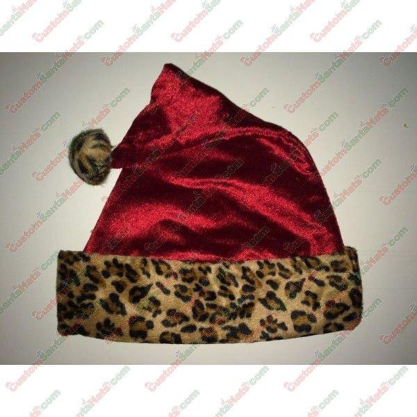 Cheetah Red Metallic Santa Hat