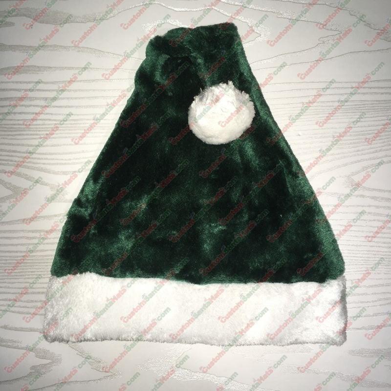 Dark Green Plush Santa Hat