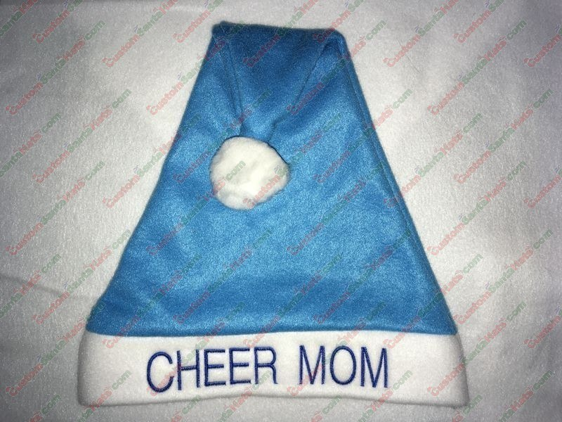 Cheer MOM Santa Hat Light Blue