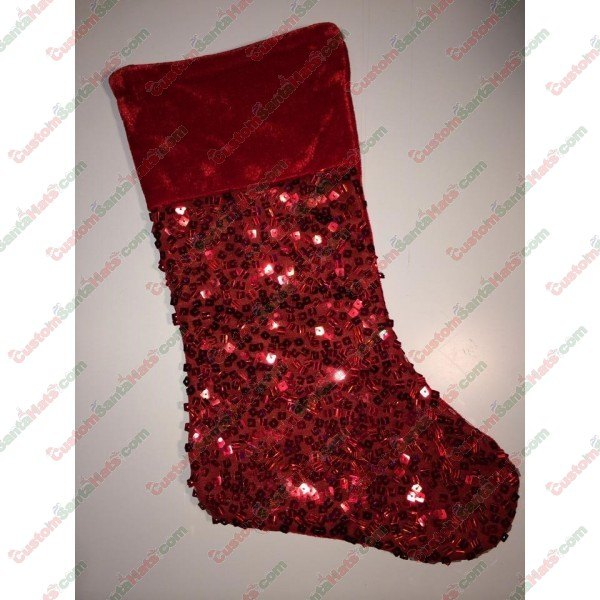 bb7843018c67f Red Sequin Stocking - All Stockings - Stockings -  5 Custom Santa Hats