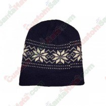 Snowflake Beanie Hat Dark Blue