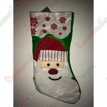 Felt Green Santa With Red Snow Stocking