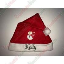 Snow Man Red Scarf Santa Hat