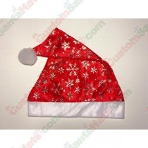 Red Santa Hat With Silver Snow