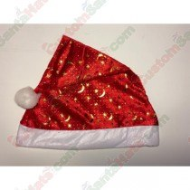 Red Santa Hat Gold Moons and Stars