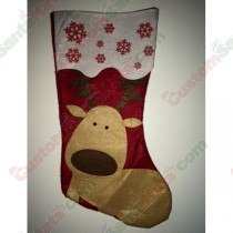 Felt Red Reindeer Stocking with Red Snow