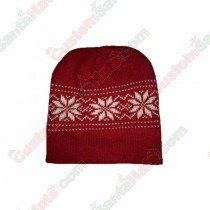 Snowflake Beanie Hat Dark Red