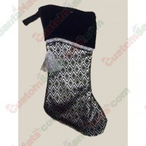 Black and Silver Stocking with Tassle and Gold Outline