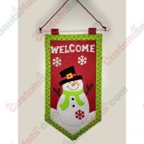 Welcome Snowman Hanging Flag Sign