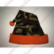 Camo Green and Orange Santa Hat