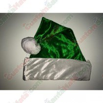 Metallic Green Fleece Santa Hat