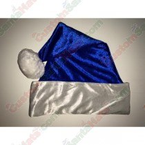 Metallic Blue Fleece Santa Hat