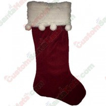 Red Stocking with White Balls on Trim