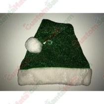 Green Sparkle Santa Hat Plush Brim