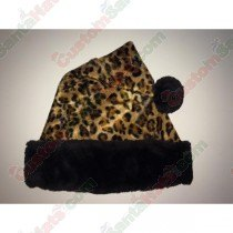 Cheetah Black Fur Santa Hat