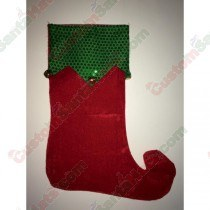 Elf Foot Stocking with Bells Red
