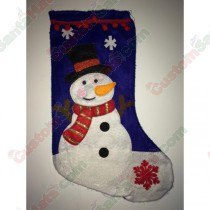 Felt Blue Snowman Stocking